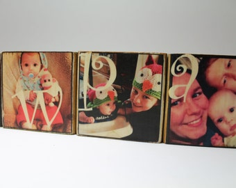 Six 3x3 Photo Blocks: Personalized Photo Gift, Personalized Photo Block Set, Gift for papa, Pawpaw, Granpa, Mother, Family, Letters on Wood