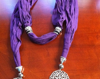 Hand made Fashion Jewelry purple  scarf