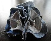 Blue Denim Triple Flower hair clip