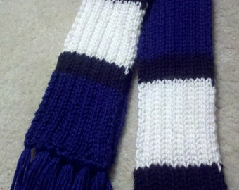 Royal Blue/Black/ White Striped Knitted Unisex Ribbed Scarf