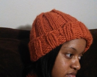 Women's Ribbed Winter Knit Hat in Orange