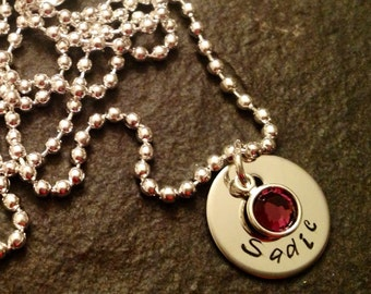 Hand stamped necklace with name and channel set Swarovski crystal birthstone
