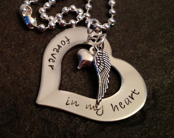 Forever in my heart hand stamped personalized necklace with angel wing and heart charm