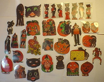 30 Photos of Early American Halloween Diecuts, Decorations- Old 35M Photo ONLY