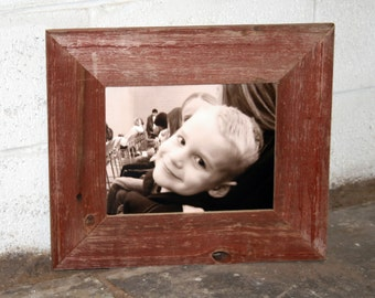 """8x10 RED Barn Wood [Thin x 3""""] Picture Frame"""