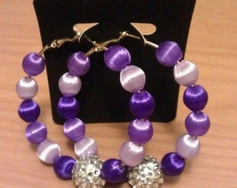 60mm basketball wives and love and hip hop inspired hoop with purple silk  and silver beads