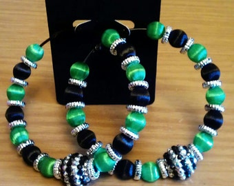 Love and Hip Hop and Basketball wives inspired hoop with silk green and black beads