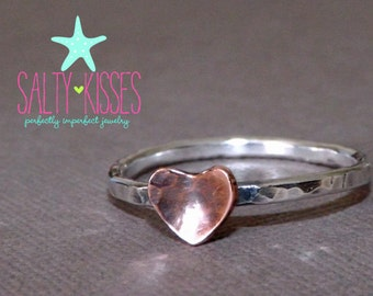 Sweet little Sterling Silver stacking ring band with copper heart - stacker stackable jewelry initial