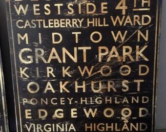 ATL neighborhoods subway type wood sign