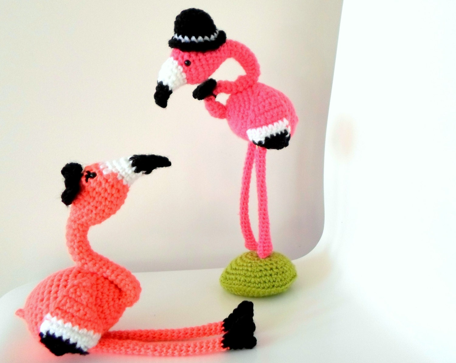 Mr & Mrs Flamingo crochet amigurumi pdf pattern INSTANT