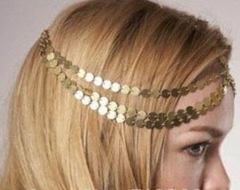 Seven  Strand Gold or Silver Coin Chain Head Piece Hair Headband Chain - Adjustable