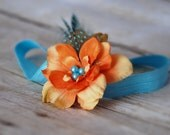 Teal and orange yellow baby headband ,shabby chic headband, girls headband,baby hair accessories for photo prop