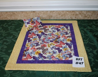 """Butterfly print, American Girl sized, reversible doll bed quit 17.5"""" x 20.5"""" with matching pillow 4"""" x 6"""""""