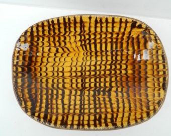 Vintage Williamsburg Restoration pottery decorative dish stoneware / Stone dish with brilliant yellow and deep brown