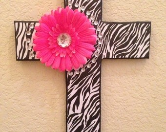 Wooden Decorative Cross (Zebra)