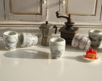 French Coffee Mugs for Dollhouse