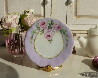 Shabby Pink Roses Lavender Dollhouse Miniature Plate