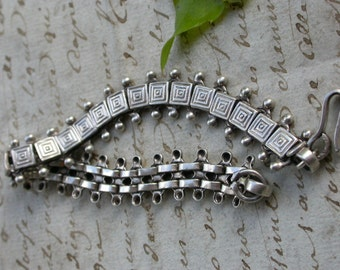 French antique art deco sterling silver star large bracelet articulated bell heart bracelet