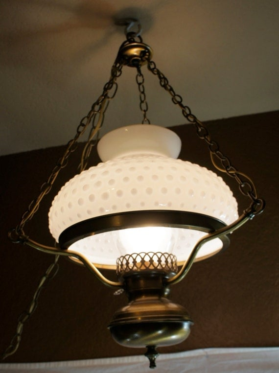 Vintage Hobnail Milk Glass Swag Hanging Lamp Light With Glass