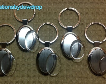 10 Oval Blank Keychains with Epoxy Resin Stickers - Alloy Silver Plated - DIY