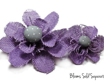 Lavender Flower Hair Clip, Lavender Flower Accessory for Hair - Gray with White Dots Center