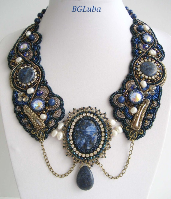 Items similar to bead embroidered necklace bochon