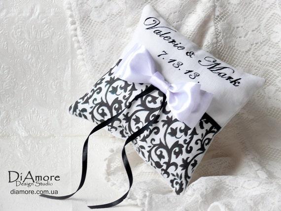 Items Similar To DAMASK Ring Bearer Pillow Names Wedding Date Customizable Personalized
