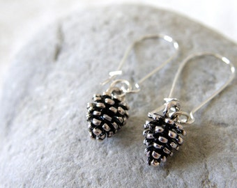Antique Silver Pine Cone Dangle Earrings, Pine Nut, Drop Earrings, Everyday, Simple