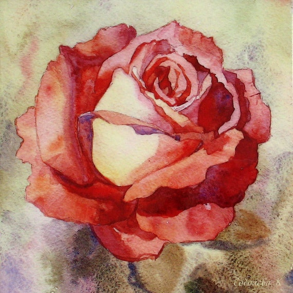 Rose watercolor rose painting watercolor painting flower for Peinture shabby chic