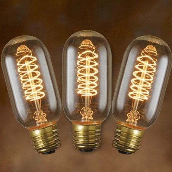 3 pack edison bulbs vintage spiral filament t14 tubular. Black Bedroom Furniture Sets. Home Design Ideas