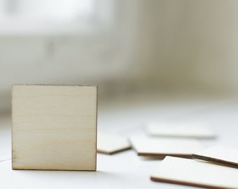 SET of 6 wooden squares 4,5cm x 4,5cm, natural wood unpainted, for crafting,for craft,wooden supplies, ready to decorate, DIY