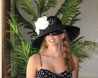 Kentucky Derby hat for women .Black  Derby hat . Black hat for the races, wedding , church or other occasions