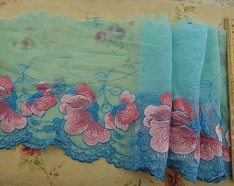 Cyan Tulle Lace Trim Pink Flowers Embroidered Lace Trim 7 Inches Wide 2 Yards Costume Supplies