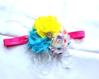 Shabby Rose Headband Girls Headband Birthday headband Girls headband hair accessories photo prop pink aqua yellow headband