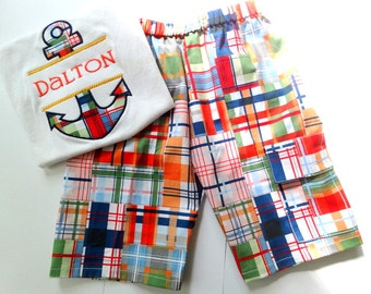 boy cargo shorts shorts with pocket little boy shorts madras shorts michael miller madras fabric summer toddler baby boys shorts