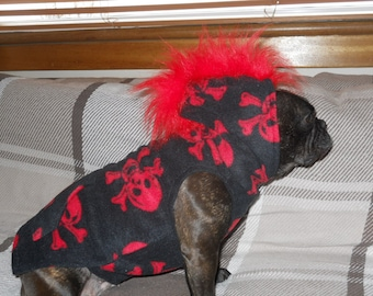 French Bulldog / Dog, Red Skull Polar Fleece Hoodie with faux fur mohican & Pocket.