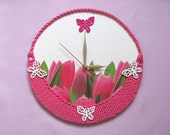 Wall Clock Basket of  Pink Tulips, unique gift, unusual wall clocks, flower clock, unique wall clocks, kids wall clocks, modern wall clocks - OlgaArtShop
