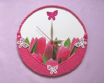Wall Clock tulip clock mother gift for her unique wall clocks pink clock wall decor unusual wall clocks flower clock crochet wall clock