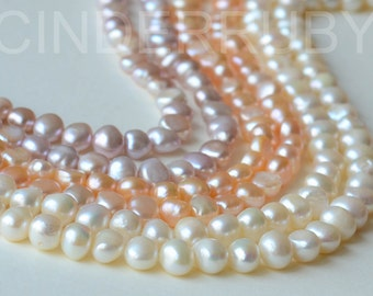 White Baroque Nugget Freshwater Pearls,Potato Pearls,Peachy Pearls,Mauve Pearls,8-9 mm,Full Strand,Jun Birthstone,Beads for Jewelry Making