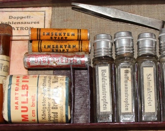 Antique German First Aid Kit Haceha / Medical Supplies / Leather Box