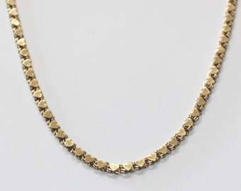 Double sided Heart link Necklace 14K yellow gold - 16 inch long - sku 7192
