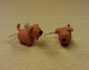 Miniature Puppy Dog Polymer Clay Earrings
