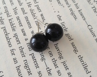 Black Round Ball Earring Studs