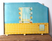 Thin Walls 2 - Vintage Marx Dollhouse Panel - Home Decor - Home - Metal - Two Sided - Bathroom - Photo Prop - Children
