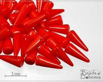 10 pcs Opaque Bright Red Czech Glass Spike Beads 13x5mm (6989)