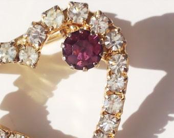 Vintage Heart Shaped Brooch with Rhinestones