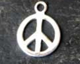 SOLID sterling silver PEACE charm 10mm
