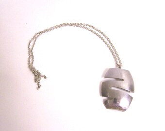 Funky Metal Stainless Steel Necklace wih Pendant from Upcycled Metal