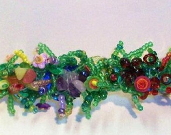 Floral beaded hair slide or barrette with crystal chips and sequins