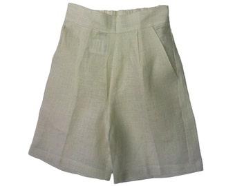 Boys Natural  linen shorts, Infant  Linen Short, Toddler Linen Short, Teen Linen Short,  Bermudas, Beach  #BS34